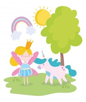 Pequena princesa fada com desenhos animados fantásticos unicórnio mágico
