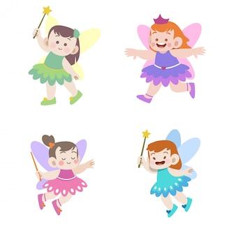 Pequena princesa fada vector conjunto de ilustração
