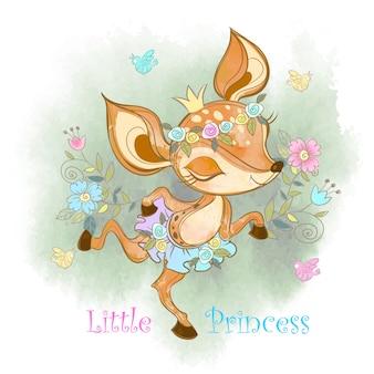 Pequena princesa. jovem corça fofa.