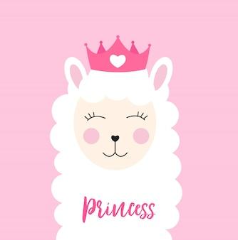Pequena princesa lhama com coroa