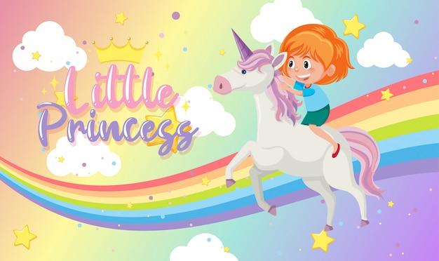 Pequena princesa logo com menina andando no unicórnio em fundo pastel de arco-íris em branco
