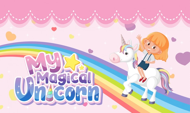 Pequena princesa logo com menina andando no unicórnio em fundo rosa pastel