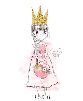 Pequena princesa rosa fofa com flores. ilustração vetorial