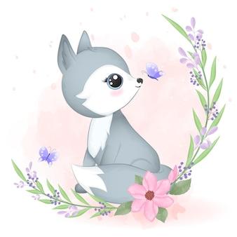 Pequena raposa e ilustração em aquarela de flora