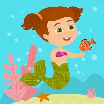 Pequena sereia e peixe
