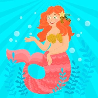 Pequena sereia e vida marinha