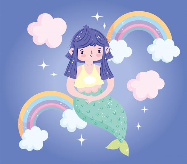 Pequena sereia fofa arco-íris brilhante nuvens bonito desenho animado
