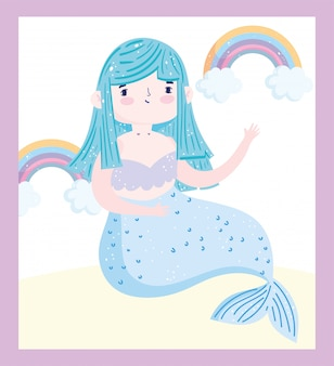 Pequena sereia fofa azul cabelo arco-íris nuvens fantasia desenho animado