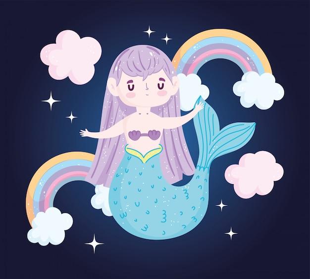 Pequena sereia fofa com arco-íris de cabelo roxo e nuvens de desenho animado com fundo preto