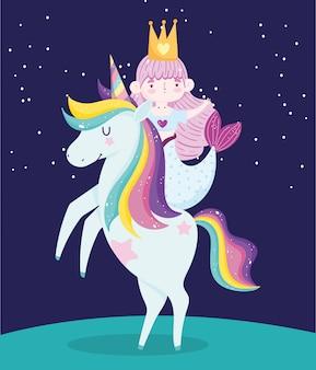 Pequena sereia fofa em unicórnio cabelo arco-íris desenho fundo escuro