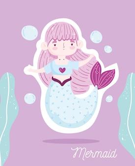 Pequena sereia fofa personagem de desenho animado marinho