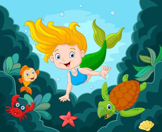 Pequena sereia nadando debaixo de água com animais marinhos