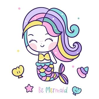 Pequena sereia no oceano