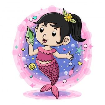 Pequena sereia roxa segurando a concha da ilustração