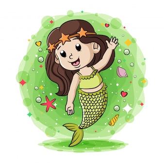 Pequena sereia verde com os animais marinhos ao redor da ilustração