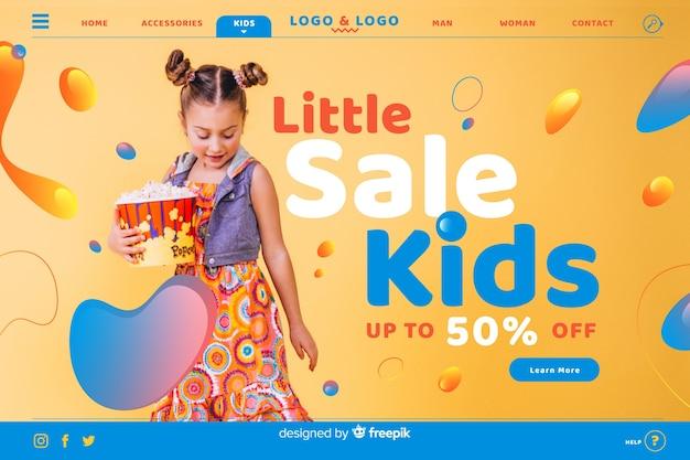 Pequena venda crianças venda landing page com foto