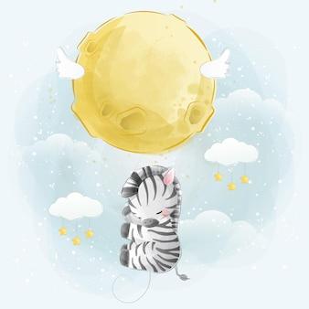 Pequena zebra voando com balões