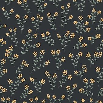 Pequenas bagas amarelas e folhas sem costura padrão vector frutas