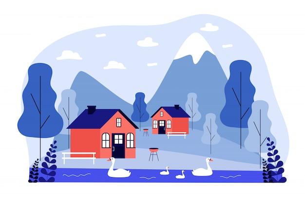 Pequenas cabanas ou casas nas montanhas