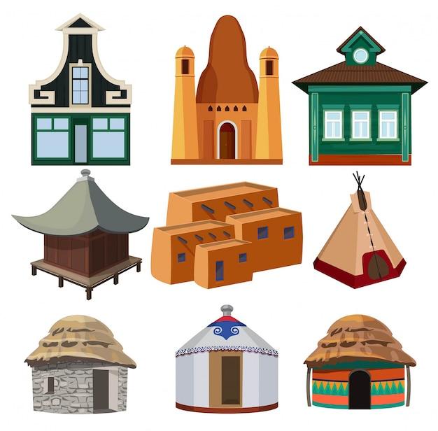Pequenas casas tribais de diferentes nacionalidades