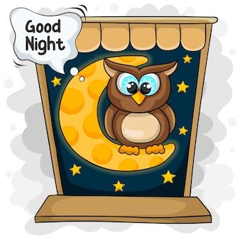 Pequenas corujas dizem boa noite