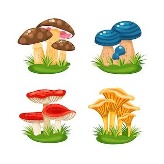 Pequenas famílias fofas de cogumelos na grama na ilustração vetorial de fundo branco