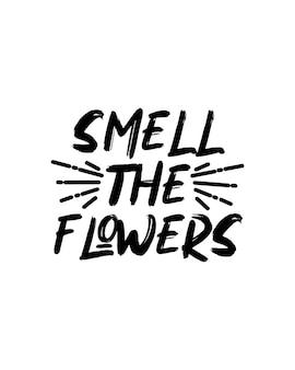 Pequenas flores. cartaz de tipografia desenhada à mão