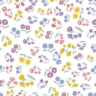 Pequenas flores vector padrão, padrão de vetor sem costura delicado e limpo