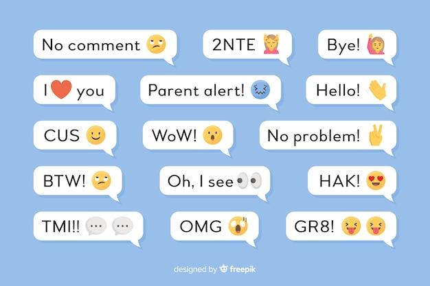 Pequenas mensagens com emojis