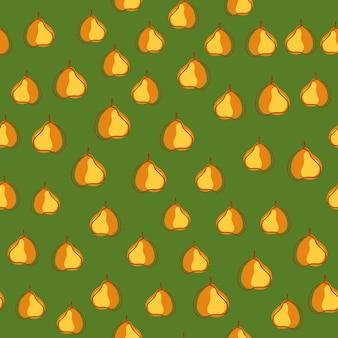 Pequenas peras aleatórias laranja moldam padrão de doodle sem emenda. fundo verde. impressão orgânica.
