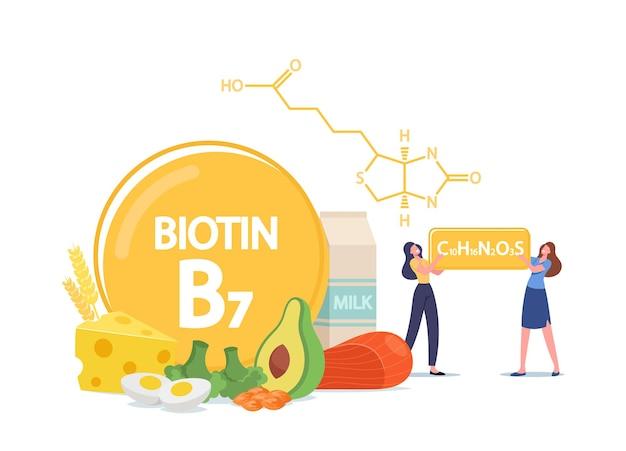Pequenas personagens femininas com fórmula de biotina. mulheres que aplicam vitamina b7 para um bom humor, saúde e dieta. colágeno farmacêutico e alimentos contêm ingredientes naturais. ilustração em vetor desenho animado