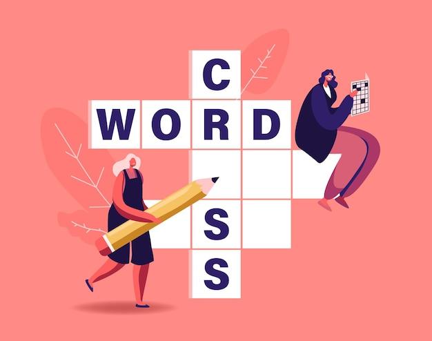 Pequenas personagens femininas com lápis resolvem grandes palavras cruzadas