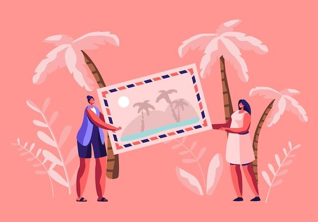 Pequenas personagens femininas segurando uma foto enorme com uma praia tropical e palmeiras