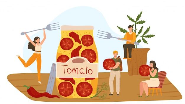Pequenas pessoas abriram um enorme pote de tomates secos, ilustração