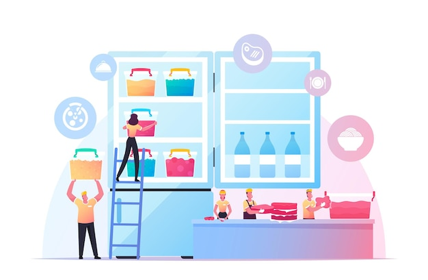 Pequenas pessoas colocam produtos semi-acabados em uma enorme ilustração de refrigeradores