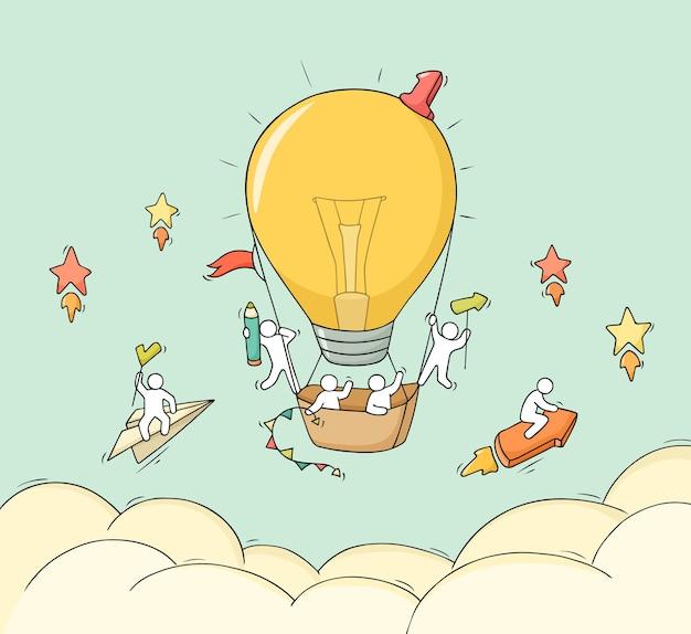 Pequenas pessoas dos desenhos animados voam no ar.