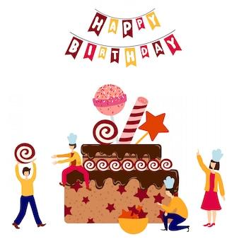 Pequenas pessoas juntas decorando o bolo de aniversário gigante