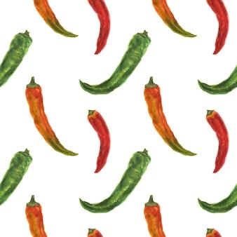 Pequenas pimentas verdes, laranja e vermelhas, aquarela sem costura padrão