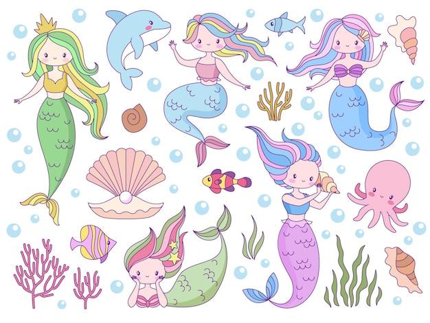 Pequenas sereias do mundo marinho