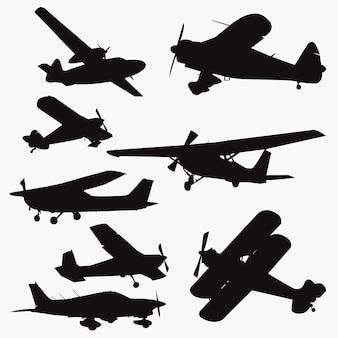 Pequenas silhuetas de avião