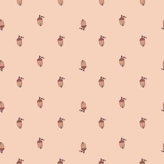 Pequenas silhuetas fofas de bolota padrão sem emenda no estilo da temporada de outono