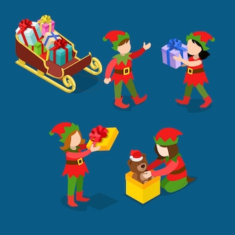 Pequeno ajudante de papai noel troll crianças embrulhar brinquedos presentes trenó feliz natal feliz ano novo isometria plana conceito isométrico web infográficos conjunto de ícones de modelo