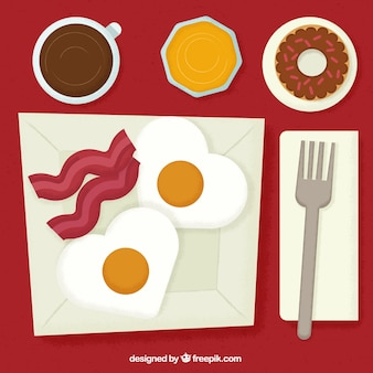 Pequeno-almoço continental saboroso no design plano