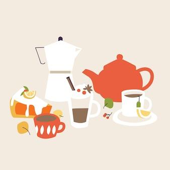 Pequeno-almoço da ilustração. coleção de itens para o café da manhã.