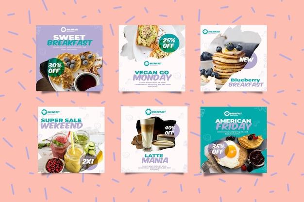 Pequeno-almoço saboroso histórias de mídia social