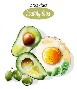 Pequeno-almoço saudável com abacate e ovo frito