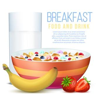 Pequeno-almoço saudável com frutas, tigela de flocos e copo de leite