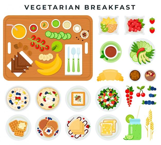 Pequeno-almoço vegetariano, conjunto de elementos coloridos design plano. legumes, frutas, bagas, bolos, muesli, bebidas.
