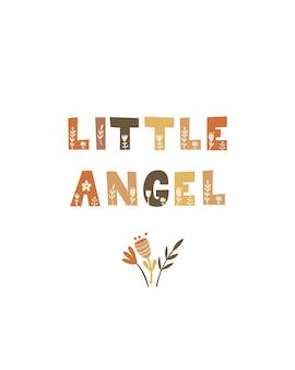 Pequeno anjo - design de cartaz do berçário. ilustração vetorial.