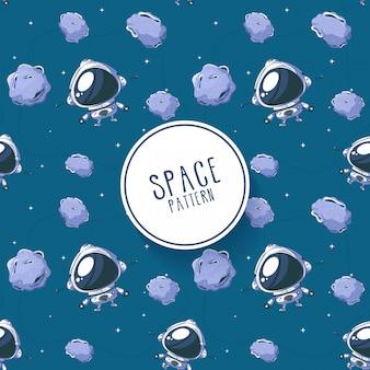 Pequeno astronauta adorável azul padrão. texturizado.